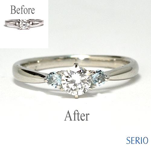 ダイヤとアクアマリンのリング納品