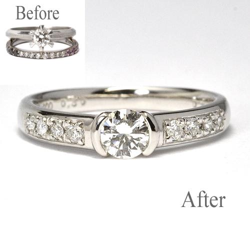お手持ちの指輪を使用して婚約指輪製作