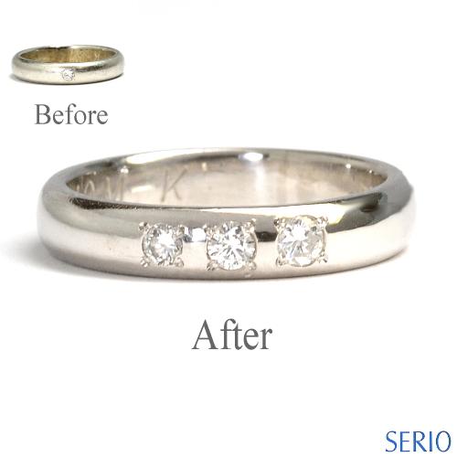 お手持ちのマリッジリングにダイヤ追加石留め加工と新品仕上げ